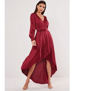 NWT Burgundy Satin Long Sleeve High Low Midi Dress